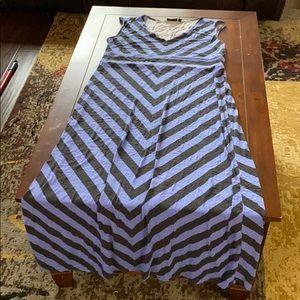 Blue and black chevron maxi dress